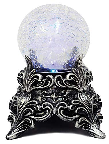 Seasons USA Witches Crackle Mystic Crystal Ball Blue Green Lights Halloween Decoration Prop ()