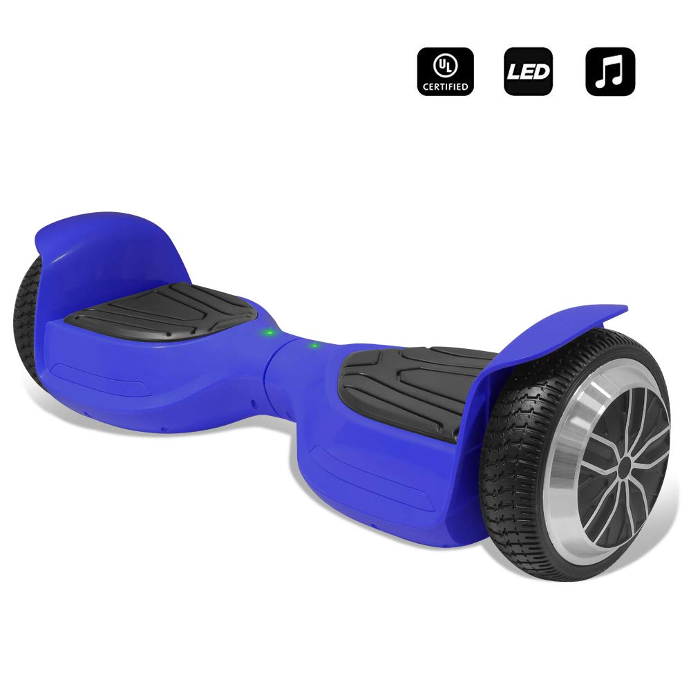 CHO 6.5'' inch Wheels Electric Smart Self Balancing Scooter Hoverboard with Bluetooth Speaker LED Light - UL2272 Certified (Blue)