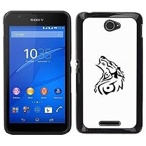 For Sony Xperia E4 , S-type® Decal White Black Tattoo Minimalist - Arte & diseño plástico duro Fundas Cover Cubre Hard Case Cover