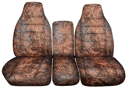 Dodge Ram Camo Truck Seat Covers (40/20/40 Split Bench) w Center Console - Front: Reeds (16 Prints) 1995 1996 1997 1998 1999 2000 2001 w/wo Integrated Belts ()