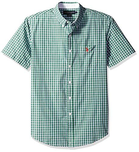 U.S. Polo Assn. Men's Classic Fit Single Pocket Stripe, Plaid Print Sport Shirt, Hockney Green, ()