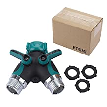 Garden Hose Splitter,2 Way 2 Way Heavy Duty Metal Y Shape Valve Water Sprinkler & Drip Irrigation Systems with 3 rubber gaskets