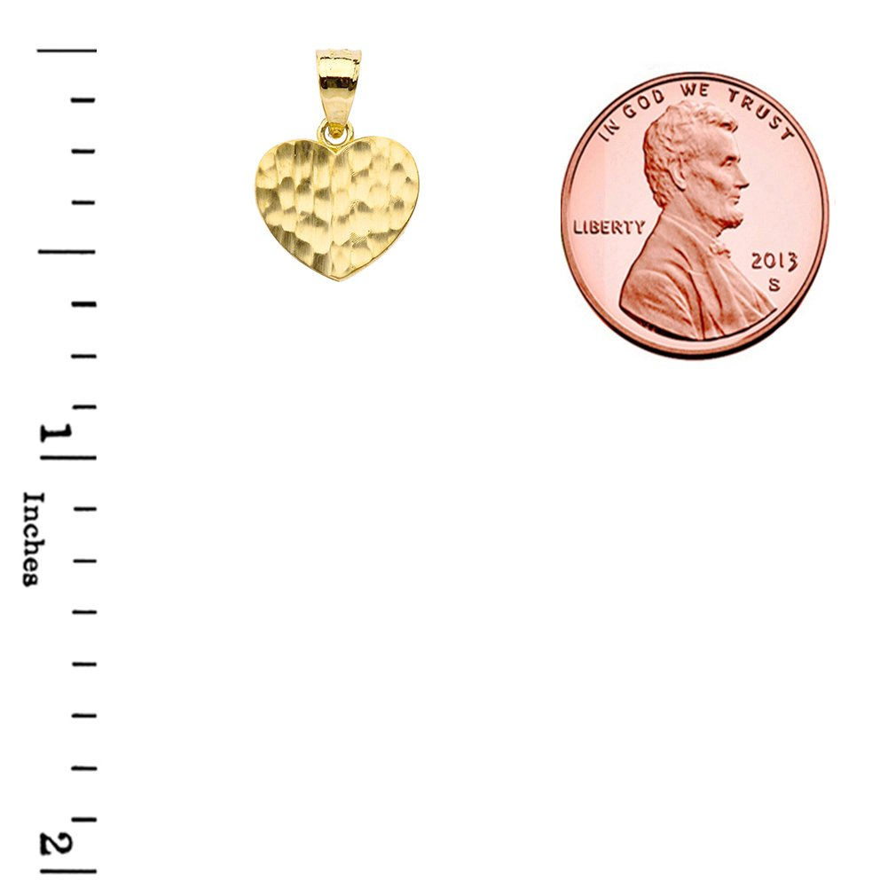 Fine 10k Yellow Gold Love Hammered Heart Charm Pendant Necklace and Earring Set, 18'' by Claddagh Gold (Image #4)