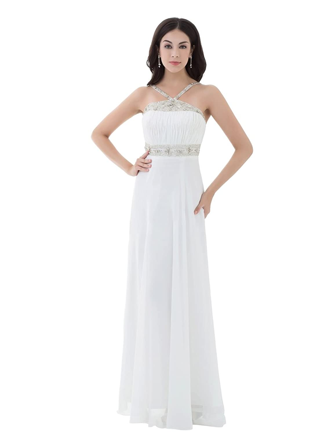 Topwedding Beaded Straps Chiffon Empire Bridal Beach Wedding Dress Womens