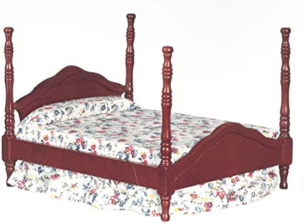 Dollhouse Miniature Double Bed in Mahogany by Town Square Miniatures