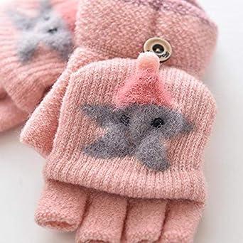guantes de escritura para ni/ños y ni/ñas de 1 a 4 a/ños Ynnxia Guantes de punto para ni/ños de cinco dedos con solapa y cortavientos