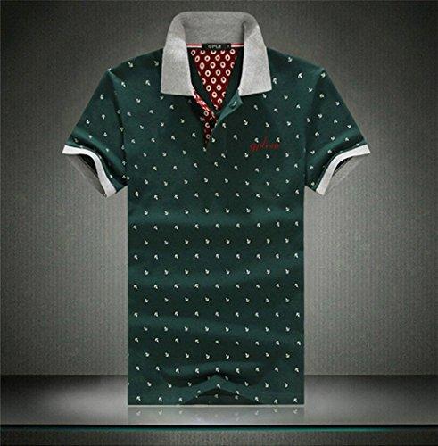 BININBOX @ Herren Sommer vergrößernd müßige Poloshirts gedruckt Muster Baumwolle T-Shirt Polohemd (M, Grün)