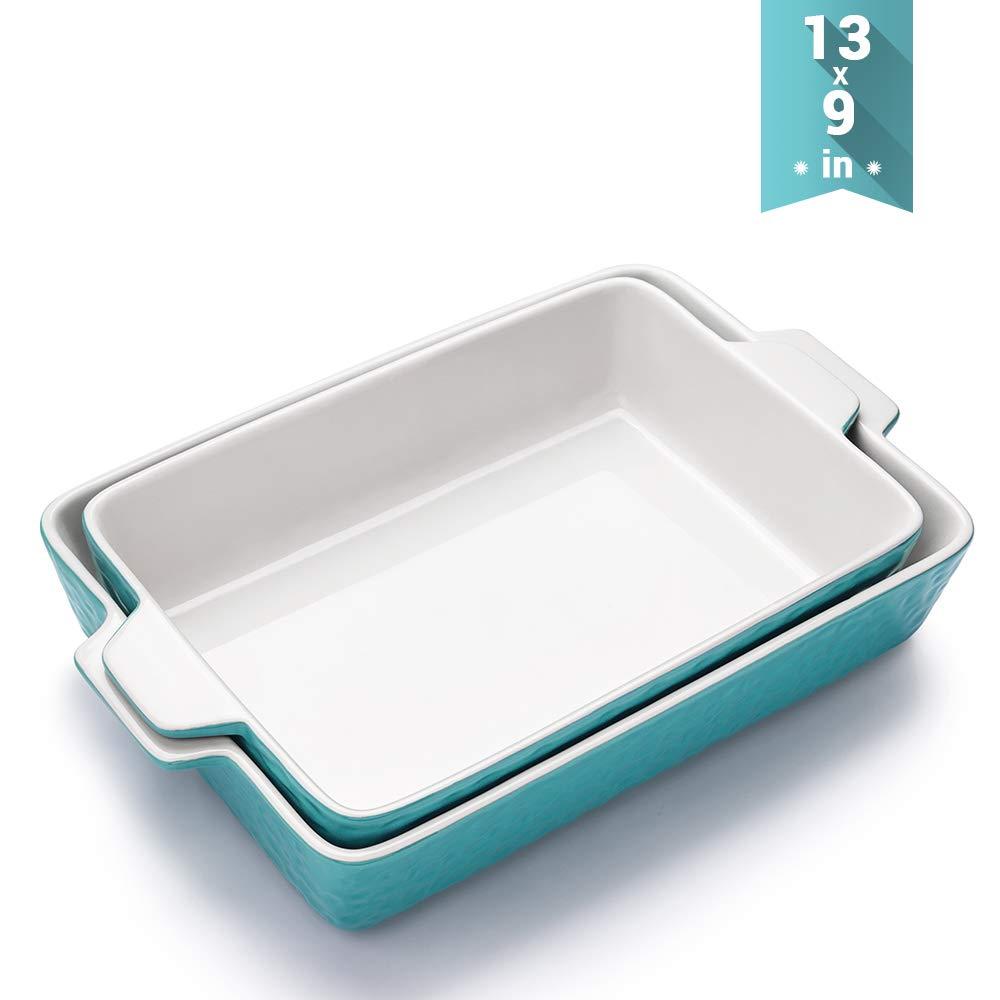 Ceramic Baking Dishes, Krokori Rectangular Bakeware Set Baking Pan Lasagna Pans for Cooking, Kitchen, Cake Dinner, Banquet and Daily Use - 13 x 9 Inches Pack of 2PCS