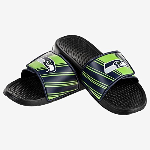 Foco Nfl Seattle Seahawks Mens Ffssnflgcvcssm Legacy Velcro Sport Slide Slippers  Team Color  Medium
