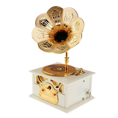Wind up Music Box Vintage Look Music Box with Jewelry Box - Table Desk Decoration and Gift (Disc Machine, White)