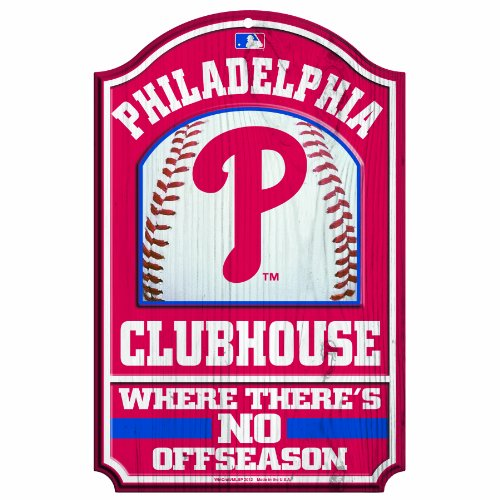 - MLB Philadelphia Phillies 11/17-Inch Traditional Look Wood Sign