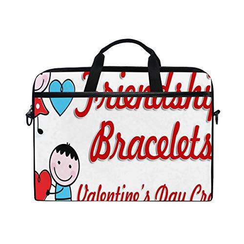 Valentine's Day Craft 14-15 inch Laptop Case Computer Shoulder Bag Notebook Tablet Crossbody Briefcase Messenger Sleeve Handbag with Shoulder Strap Handle for Women Men Girls Boys ()