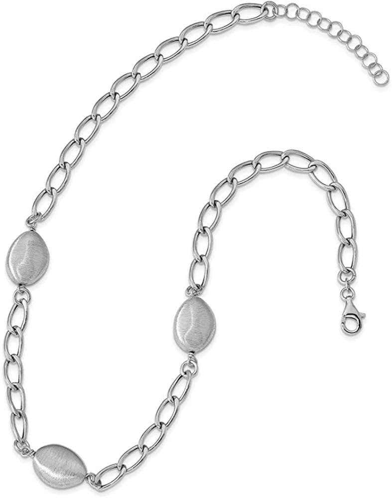 Leslies Sterling Silver Rhodium Brushed /& Polished w//2 in ext Necklace; 17.5 inch