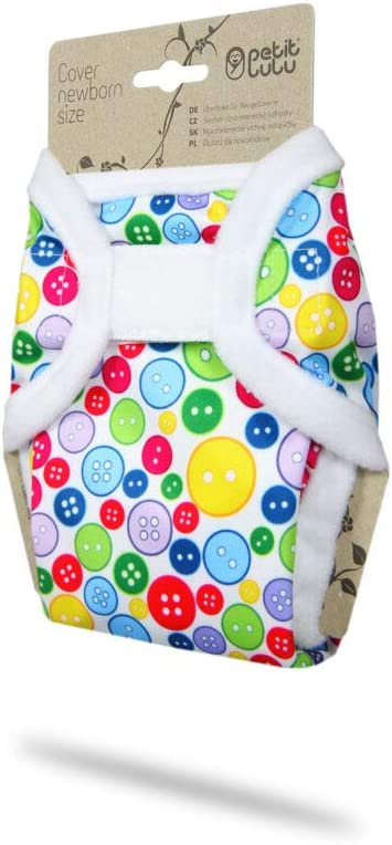 4.4-13.2 lbs   Hook /& Loop Sewing Buttons Reusable Cloth Nappies Petit Lulu Cloth Nappy Wrap Made in Europe Newborn Washable Diaper Wrap