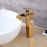 Durable Modern Minimalist Golden Bathroom stereoscopic Sink Faucet Waterfall Gold Single Handle One Tap practical