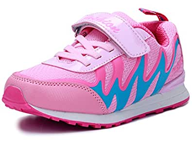 DADAWEN Boy's Girl's Athletic Strap Light Weight Breathable Running Sneakers (Toddler/Little Kid/Big Kid) Pink US Size 9 M Toddler
