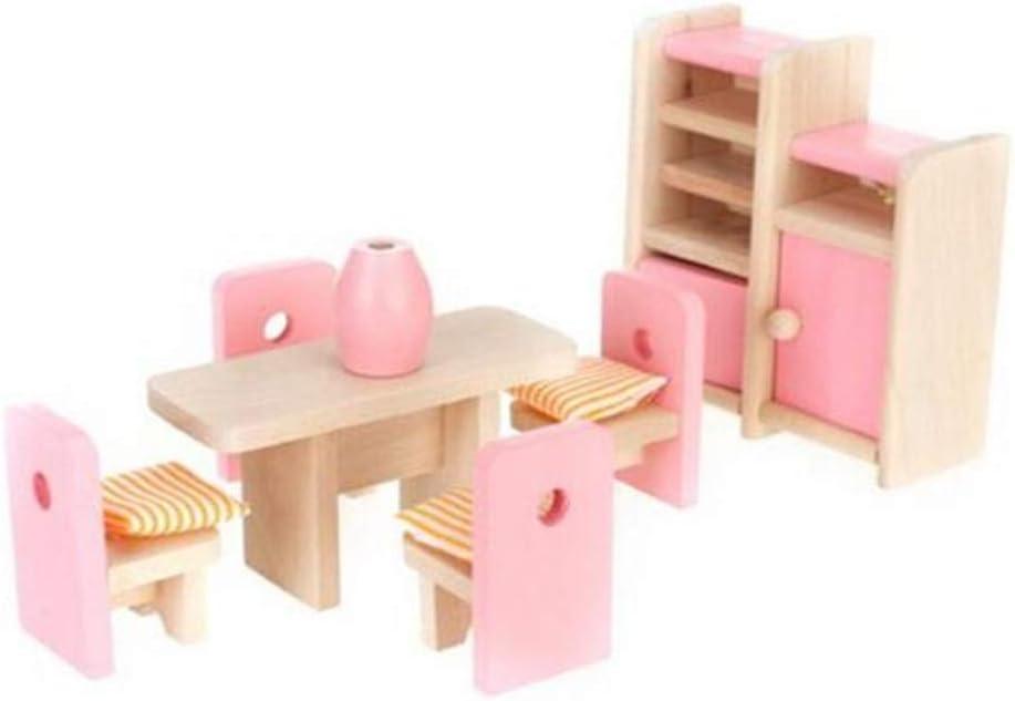 Puppenhaus Esszimmer Holzm/öbel gesetzt Tisch Stuhl Kabinett Vase Spielzeug gesetzt Puppenhaus Miniaturm/öbel f/ür Babys M/ädchen Spielzimmer Geschenk