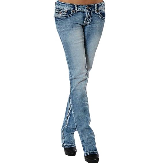 WanYang Mujeres Skinny Slim Pantalones Vaqueros Rectos Jeans ...