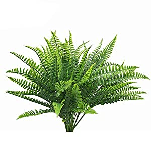 Lanldc 4 Bundles Artificial Plastic Bush Faux Grass Leaves Simulation Greenery Shrubs Home Garden Décor 92
