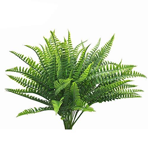 Fern Stem - Lanldc 4 Bunches Boston Ferns Bush Plastic Artificial Grass Leaves Plant Indoor Outside Home Garden Party Decor(Large)