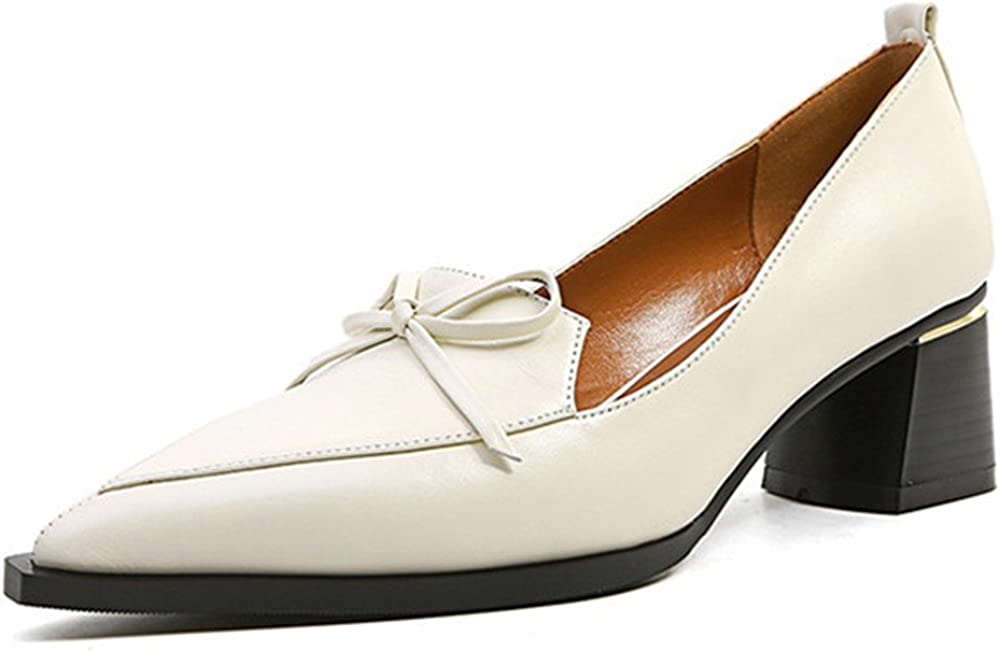 Nine Seven Genuine Leather Women's Pointed Toe Chunky Heel Business Office Handmade Trendy Pumps New