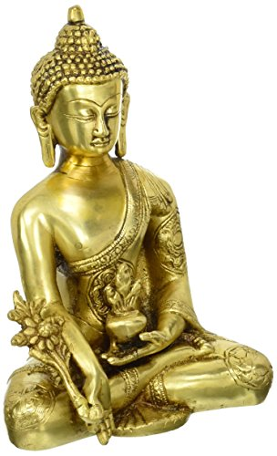 Statuestudio Indian Tibet Gautama Buddha Mini Brass Decorative Statue Figurine/Antique Shakyamuni Earth Touching Idol for Peace, Meditation & Protection/Nepal Traditional Siddhartha Sculpture-Glossy
