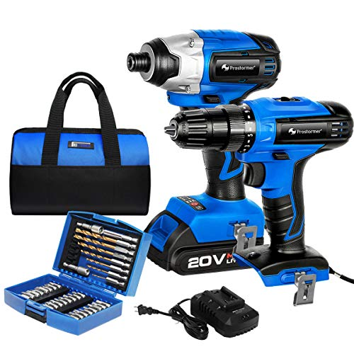 20V Cordless Drill/Brushless Impact Screwdriver Combo kit, 1 Rechargeable 2.0Ah Lithium Battery, 1 fast charger, 1 Storage Bag with 34PCS Screwdriver Bit & Nut Driver Set by PROSTORMER