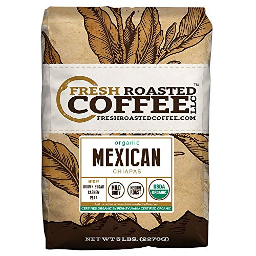 Fresh Roasted Coffee LLC, Organic Mexican Chiapas Coffee, USDA Organic, Medium Roast, Whole Bean, 5 Pound Bag (Fresh Roasted Coffee Llc Organic)