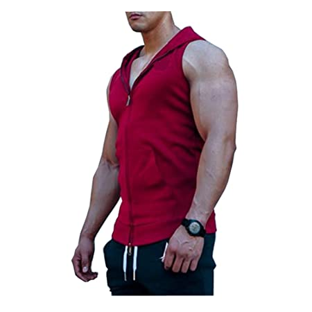 329e51bf1abad DOTBUY Mens Hooded Vests Tank Top Casual Sleeveless T Shirt Men s Pure  Cotton Vests Bodybuilding Training