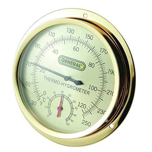 General Tools B600FC, Round Brass Wall Mount Thermo-Hygrometer, 6 pc
