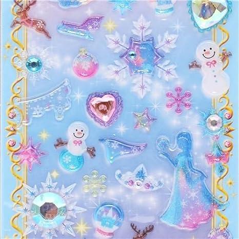 Adesivi Plastica Dura 3d Brillantini Fiocchi Di Neve Principesse Dal