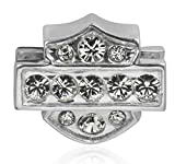 Harley-Davidson .925 Silver Crystal Bling White Ride Womens Bead