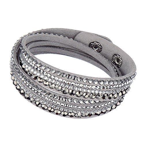 Around Swarovski Wrap Bracelet (Beautiful Bead Women New Fashion Genuine Leather Wrap Multilayer Rhinestones Hot Fix Bracelet-Grey)