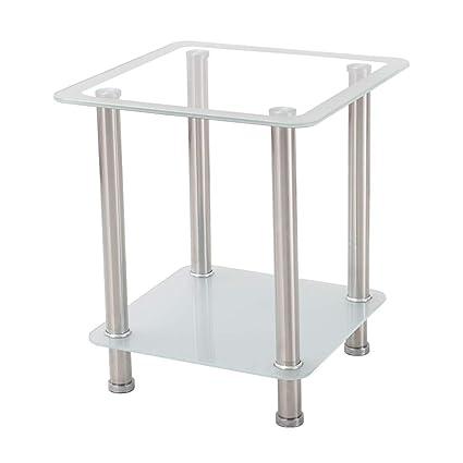 Amazon.com: Square Glass Side Table Double Storage Desktop ...