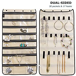 Misslo Jewelry Organizer Hanging For Travel Home Storage 30 Zippered