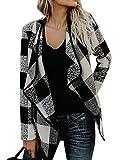 Nlife Women Asymmetric Hem Plaid Coat Long Sleeve Lapel Collar Open Front Cardigan Coat