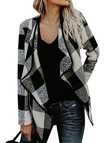 Nlife Women Asymmetric Hem Plaid Coat Long Sleeve Lapel Collar Open Front Cardigan Coat by Nlife