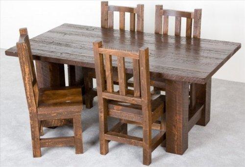 Viking Log Furniture NBHVT64 Barnwood Dining Table 40 in. x 64 in. in Honey Pine -