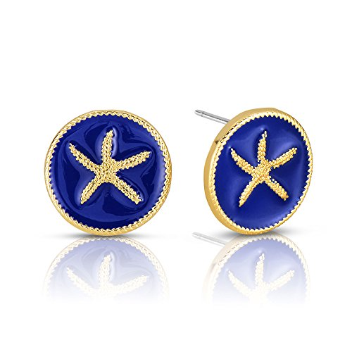 Gold Tone Sport Earrings (Summer 2017 Ocean Round Button Earring by Alberto Moore Gold Tone and Blue Enamel Starfish Stud Earrings)