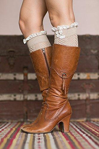 American Trend Kvinna Härlig Spets Sticka Trim Boot Manschetter Havregryn