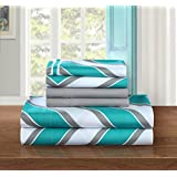 Chic Home 6-Piece Ariel Supersoft Brushed Microfiber Deep Pocket Chevron Pattern Sheet Set with 2-Bonus Pillow Cases, King, Aqua