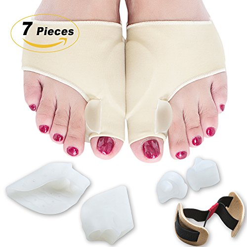 Bunion Corrector Relief Sleeves Kit - Treatment for Hallux Valgus with Gel Bunion Pads Cushion - Bunion Protector of Toe Separators Spacers Straighteners splint for Hammer Toe, Tailors (Translucent Corrector)