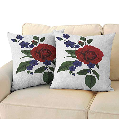 (Rose,Couple Pillowcase Valentines Rosebud with Little Blossoms Love Passion Theme Artful 18