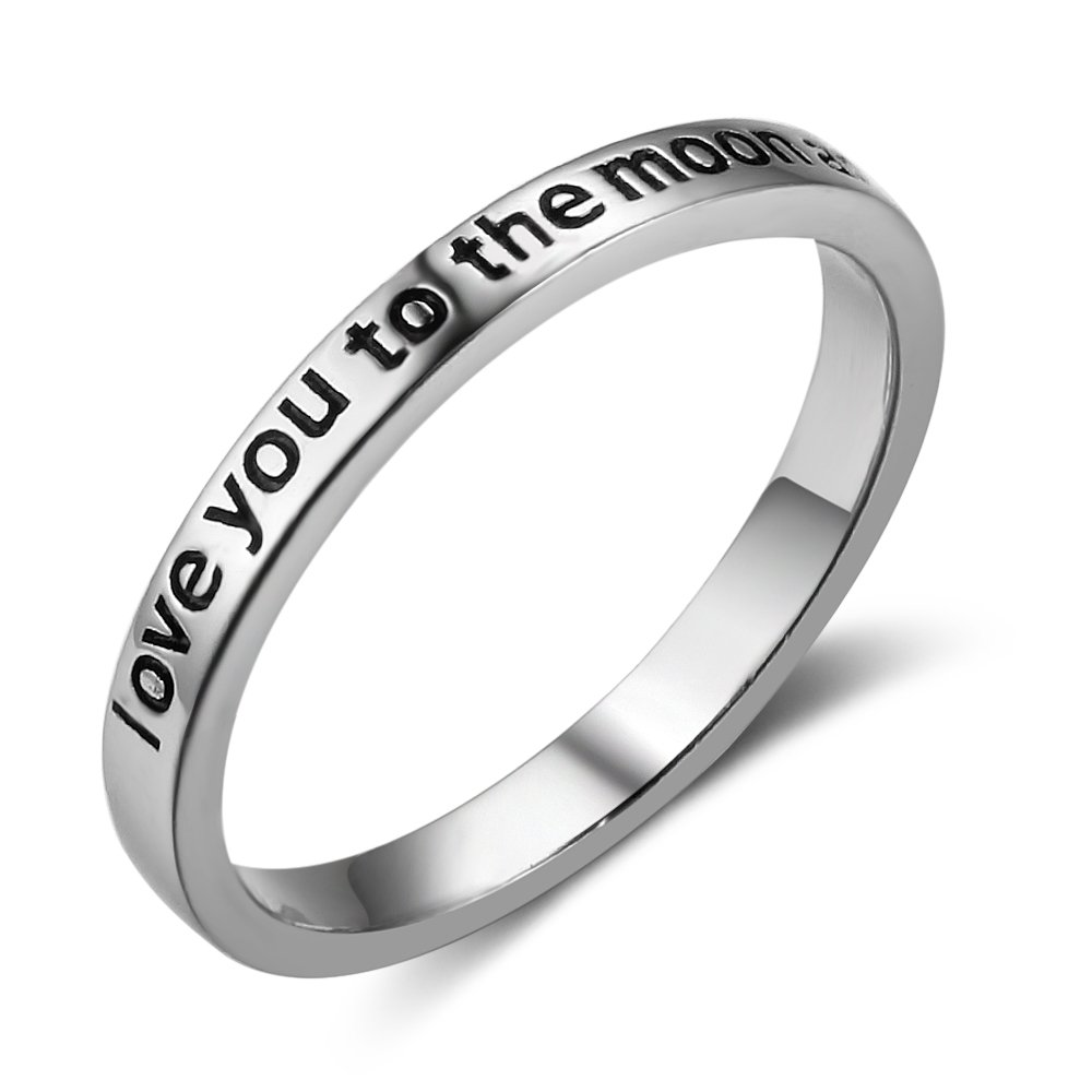 Furious Jewelry 925 Sterling Silver 'Love You To The Moon And Back' Band Ring, Size 6 7 8 (7)