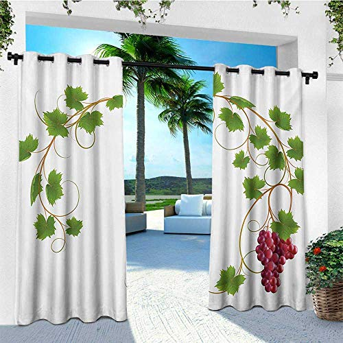 Vineyard, Outdoor Curtain of Lights, Curved Ivy Branch Deciduous Woody Wines Seeds Clusters Cabernet Theme Print, Set for Patio Waterproof W84 x L96 Inch Green Purple