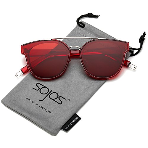 SOJOS Fashion Square Oversized Sunglasses for Women Mirrored Lens SJ2038 with Silver Rim/Dark Red Lens]()
