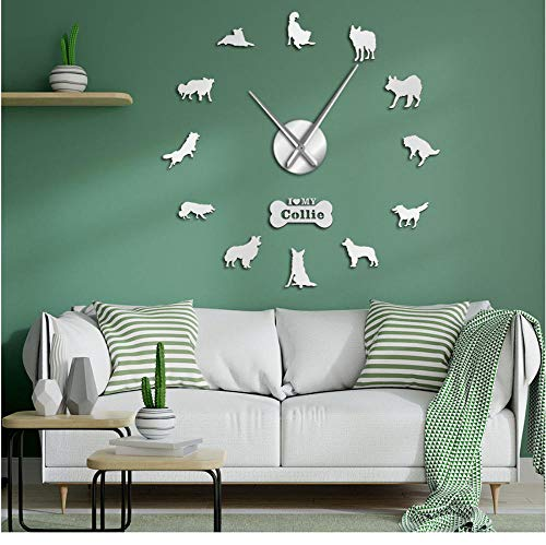 Dog Breed Border Collie Silhouette Wall Sticker Frameless DIY Giant Wall Clock Home Decor Scottish Sheepdog Dog Paw Wall Clock(47inch)