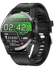 jpantech Smartwatch voor mannen, Fitness Trackers Met Ontvangen/Make Call,46mm   ECG monitoring tracker hartslagmeter stappenteller bloeddrukmeting IOS/Android (Zwart)