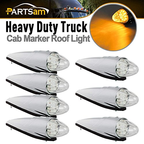 (Partsam 7X Chrome Torpedo 17LED Cab Marker Clear Amber Light Assembly Replacement for Peterbilt Kenworth Freightliner Semi Truck)