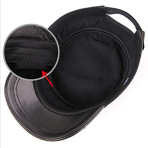 Algodón Gorra Cap Hojas l Black Sombrero Adjustable ocio Primavera Black color Plana Size Hombre Happy Cuero Finas Fashion 0Xpwq4